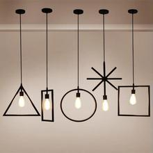Nordic E27 Iron Geometry Hanging Droplight Adjustable Ceiling Pendant Lamp for Bedroom Living Room цена