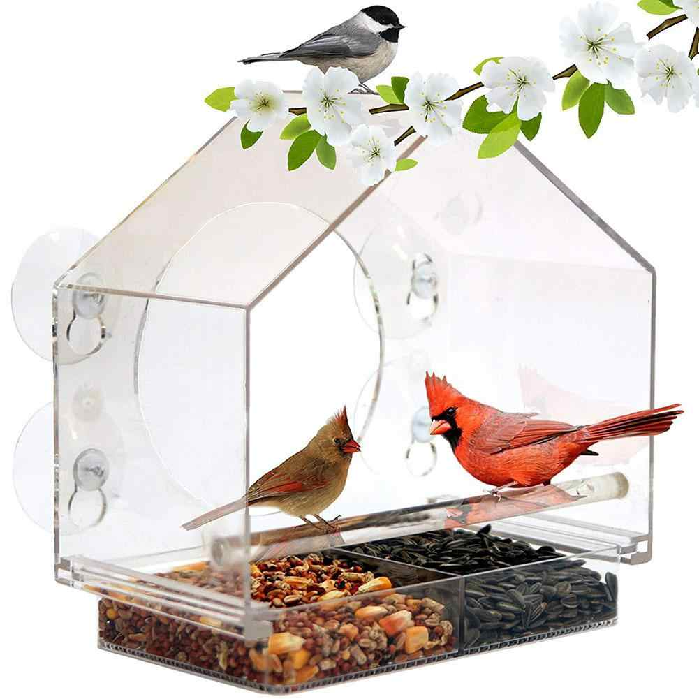 Adeeing Acrylic Transparent Bird Feeder with Suckers Birds Cage for Tree Garden Decoration