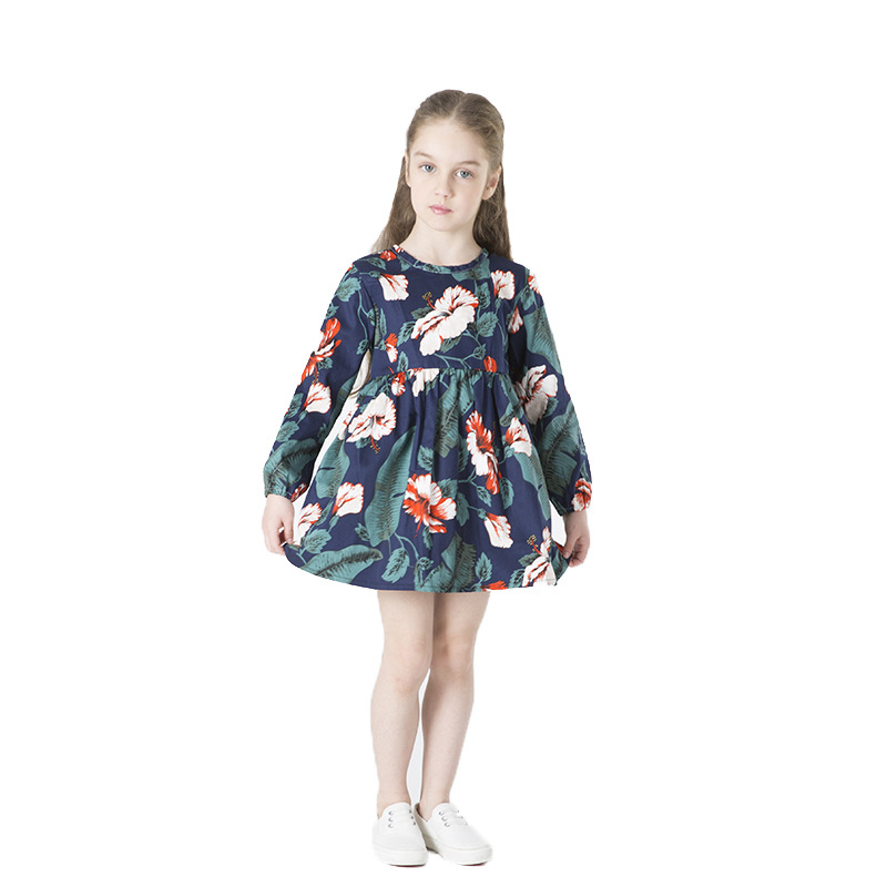 Girls dress long sleeve spring and autumn 2019 new fine twill cotton print flower childrens clothing