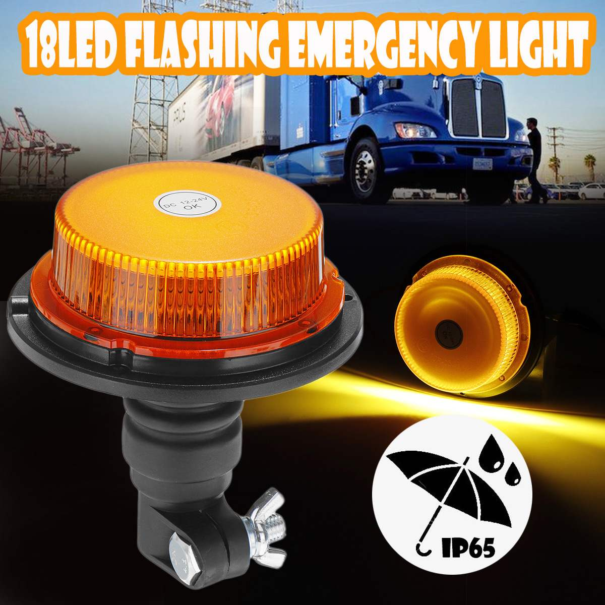 Waterproof Flashing Warning Light LED Car Truck Emergency Light Flashing Firemen Lights 12-24V For Agricultural Vehicle Tractor