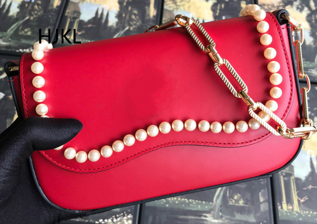 Genuine Leather Female Cow Skin Handbags Peach Heart Wavy Chain with A Single Shoulder Slanting Clutch