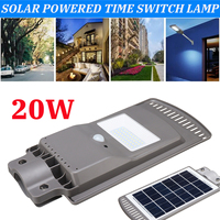 20W Solar Panel LED Solar Street Light All in 1 Intelligent Time Switch Waterproof IP67 Wall Lighting Lamp for Outdoor Garden