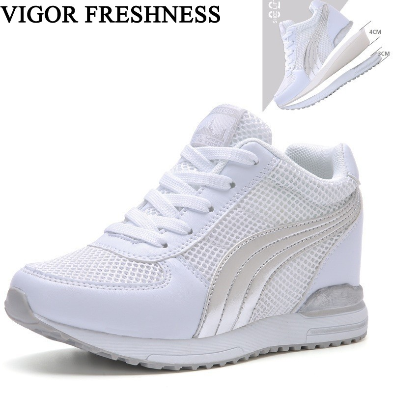VIGOR FRESHNESS Woman Shoes Platform Sneakers Increase Internal Heels Woman Spring Sneakers Ladies Autumn Mesh Shoes Summer S82VIGOR FRESHNESS Woman Shoes Platform Sneakers Increase Internal Heels Woman Spring Sneakers Ladies Autumn Mesh Shoes Summer S82