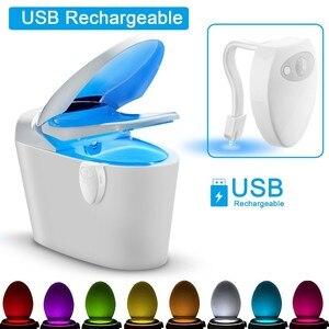 Image 2 - Coquimbo usb充電式トイレライトpirモーションセンサー8色バックライト便器スマート夜の光浴室用