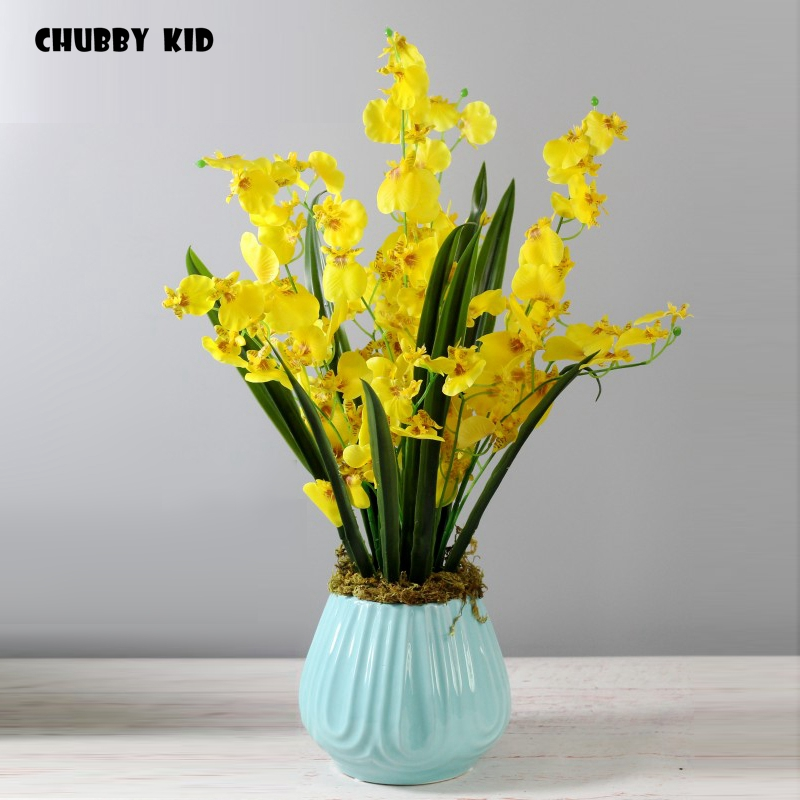 High Simulation Bonsai Real Touch Artificial Arrangements Fake Oncidium Hybridum In Ceramic Pot Yellow Orchid Flower Suit Artificial Dried Flowers Aliexpress