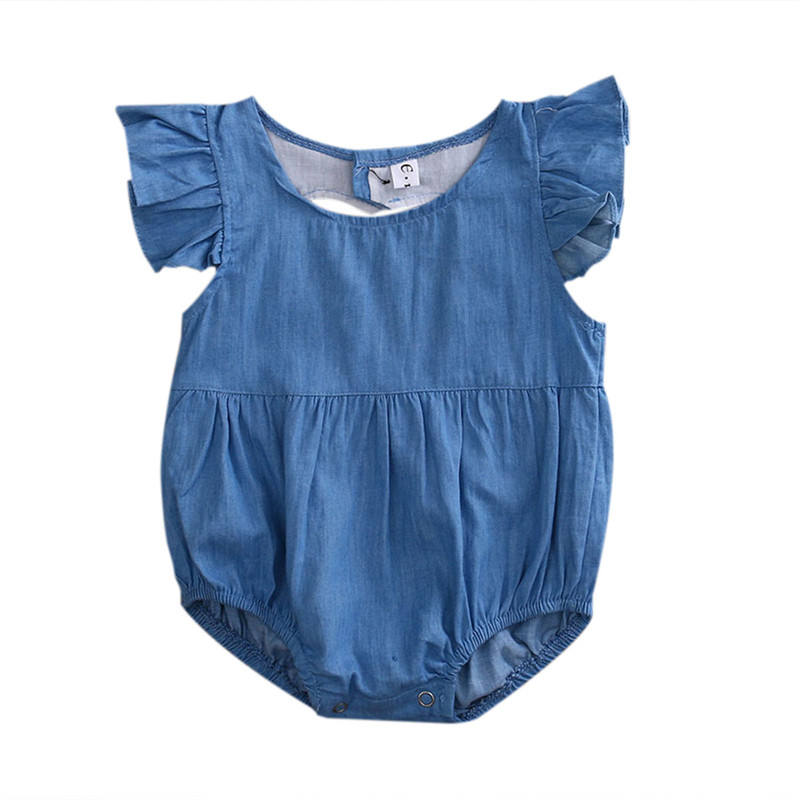 Summer Denim Newborn Infant Baby Girls   Romper   Hollow love Jumpsuit Clothes Sunsuit Outfits