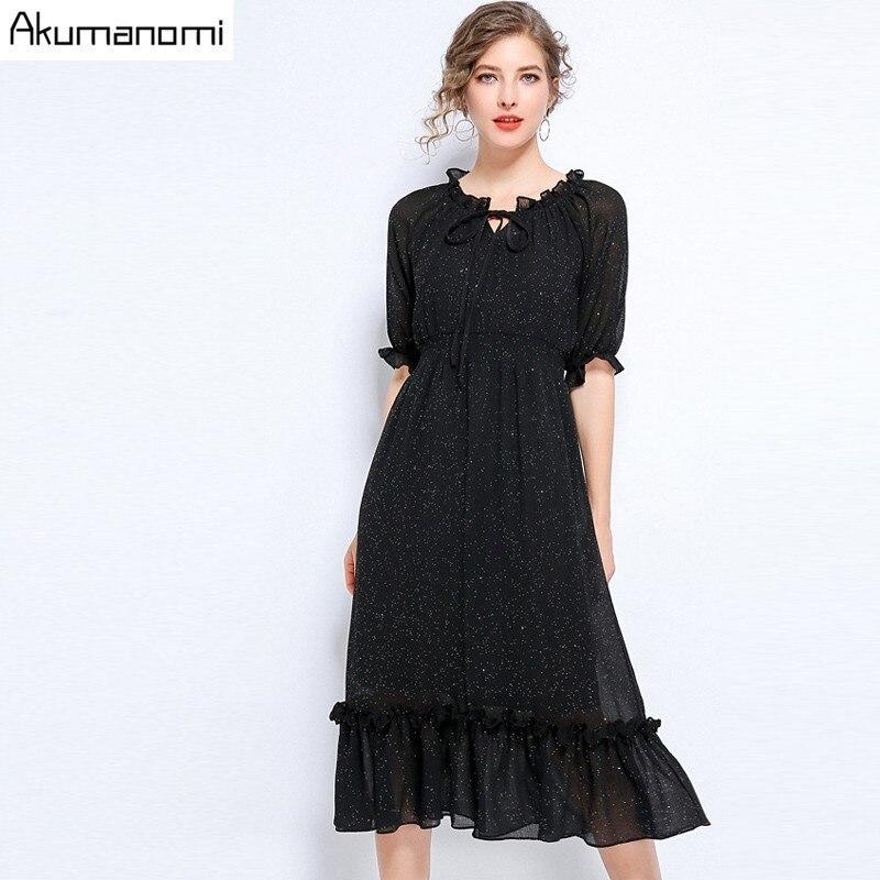 Akuma Summer Autumn Chiffon Print Dress Casual Cute Women Starry Sky Long Bowknot Dresses Long Sleeve Vestido 5XL L Plus Size