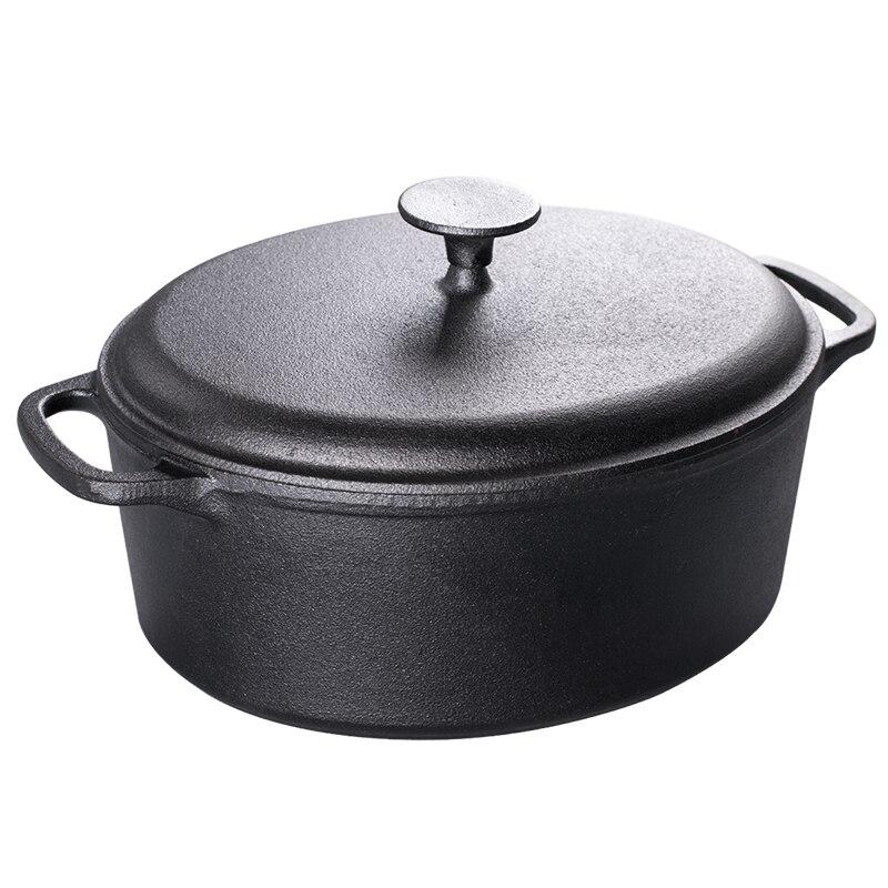 Marmite à soupe en fonte épaississement approfondissement casserole elliptique sans revêtement santé ménage poisson stewpan cuisinière à induction à gaz