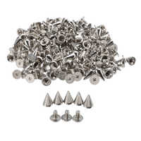 100pcs 10mm Round Spots Spikes Cone Studs Metal Rivet Bullet Screw For DIY Leathercraft Silver/Black Silver/Golden