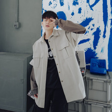 Men's Jacket  Spring New Boys Fashion Casual Solid Color Loose Contrast Color Mosaic Fake Two Coat Personality Shirt Urban Wind contrast color fashion two pockets loose outerwear