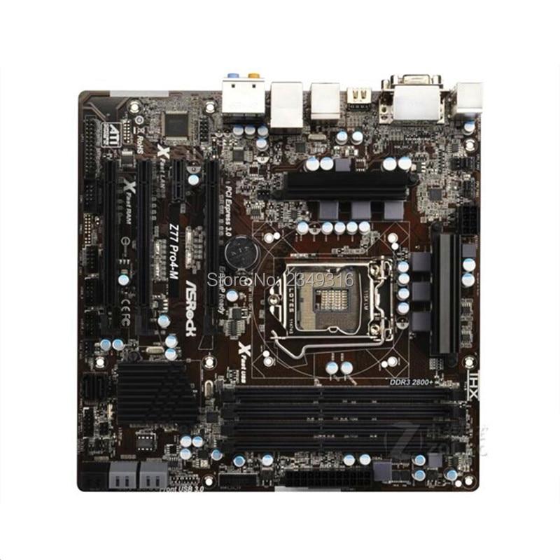 For ASRock Z77 Pro4 M Desktop Board Z77 Motherboard Slot LGA1155 DDR3 SATA3 USB3 0 Support