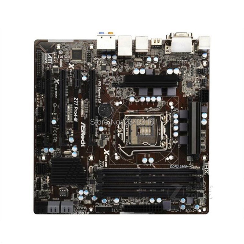For ASRock Z77 Pro4-M Desktop Board Z77 Motherboard Slot LGA1155 DDR3 SATA3 USB3.0 Support I7 3770K