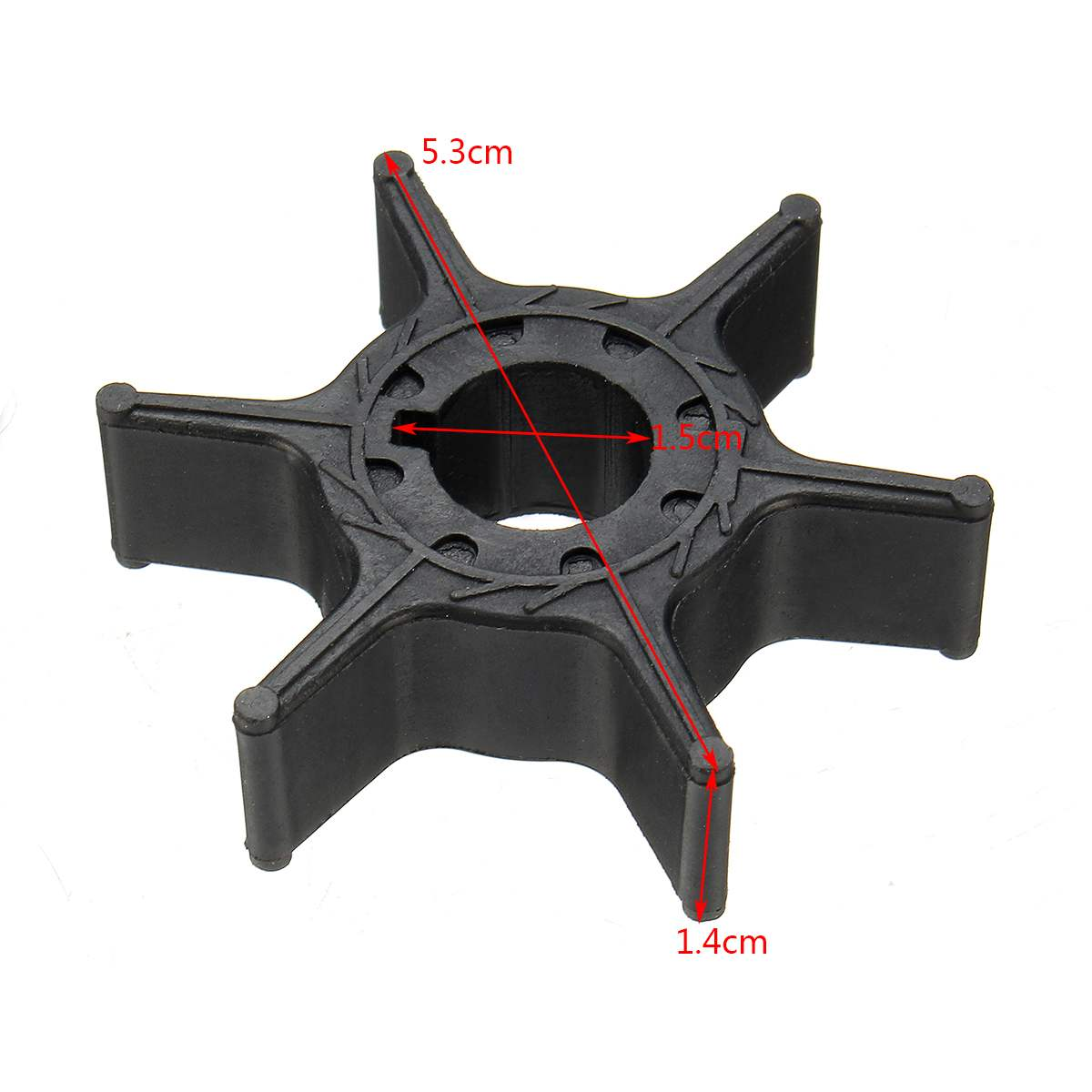 63V-44352-01 Water Pump Impeller For Yamaha 8HP 9.9HP <font><b>15HP</b></font> 20HP <font><b>Outboard</b></font> <font><b>Motor</b></font> Black Rubber 6 Blades Boat Parts & Accessories image