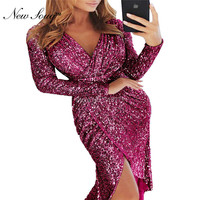 V Neck Cocktail Dresses Black Silver Sequin Shiny Party Dress 2019 New Arrival Vestidos Coctel Long Sleeves Robe Cocktail