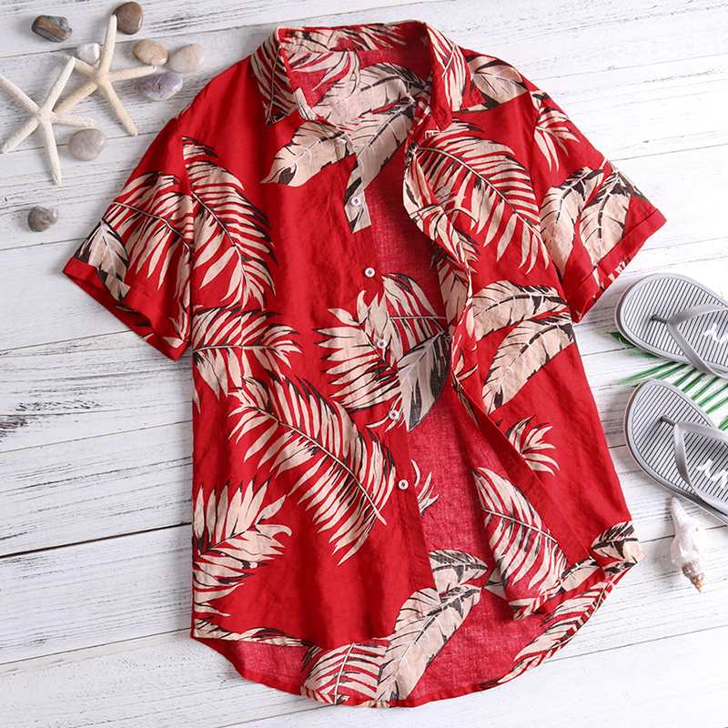 Summer Hawaiian Red Shirts Tropical Shirts Floral Men Tops Casual Shirt Short Sleeve Cotton Button Camisa Loose Vacation Beach