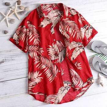 Suelta Florales Verano Rojo Hombres Corta Camisas Casual Camisa Algodón Vacaciones Tropicales Manga Botón Playa Tops Hawaiano tQdhrCs