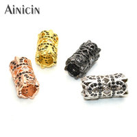 Rhinestone Crystal Setting Hollow Out Big Hole Tube Connectors Gold Silver Gun Metal Pipe Connections For Bracelet Making 30pcs