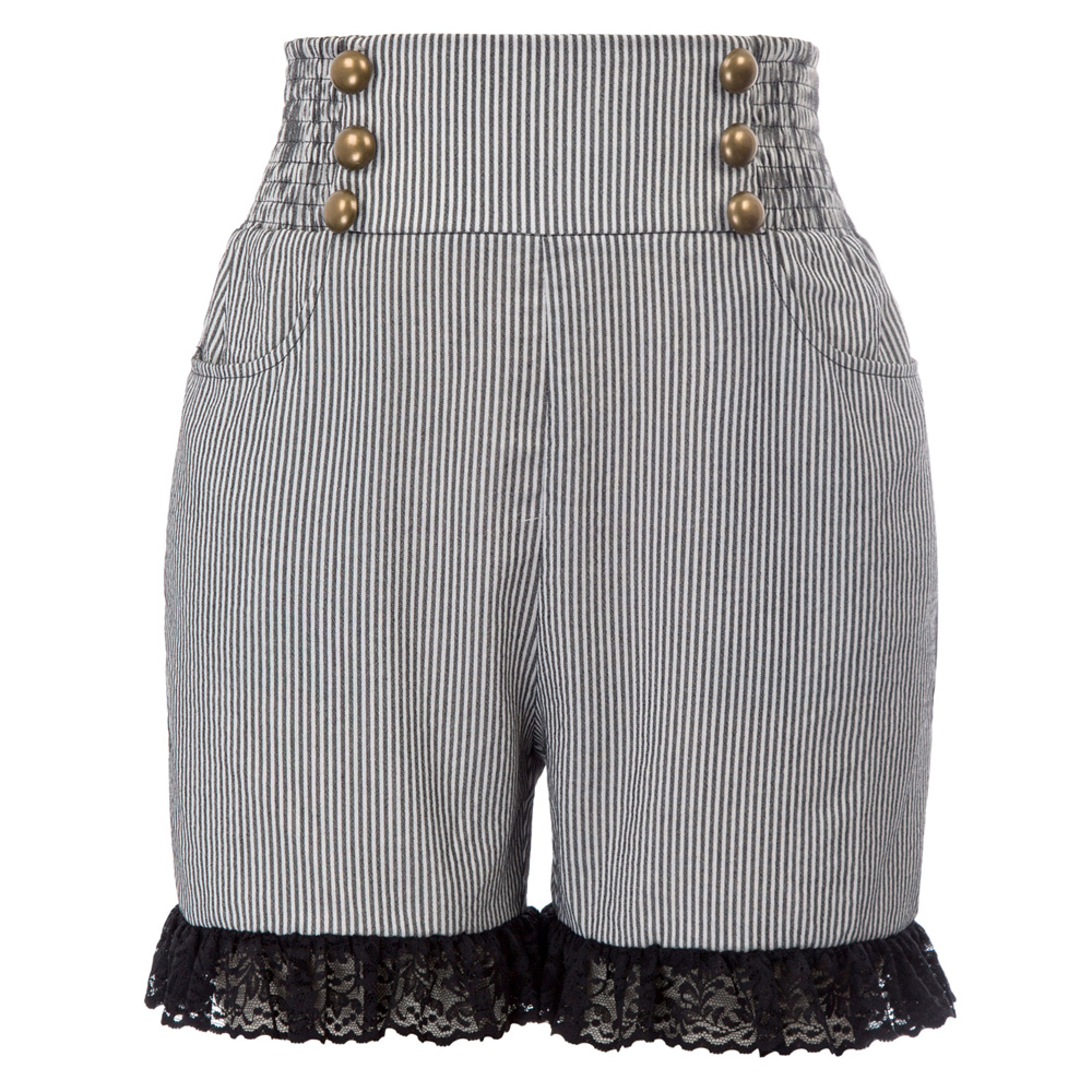 holiday beach summer   shorts   Women Retro Vintage Steampunk buttons pockets floral Lace Leg Openings   Shorts     short   femme ladies