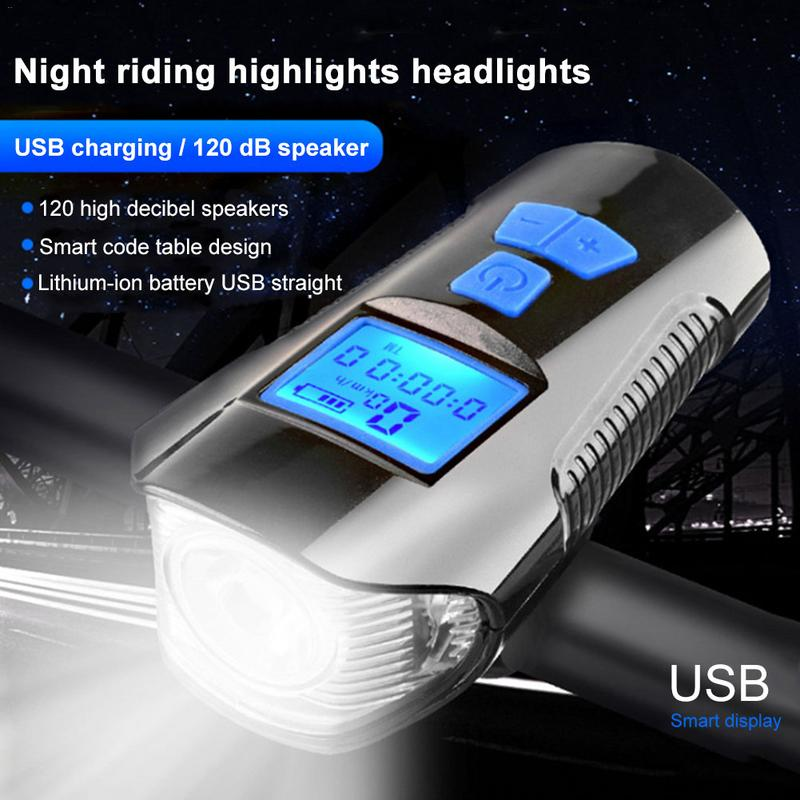 LCD Screen Bicycle Light Computer Wireless Speedometer Digital Odometer MTB Bike Bycycle Bell T6 LED Cycling Front Light