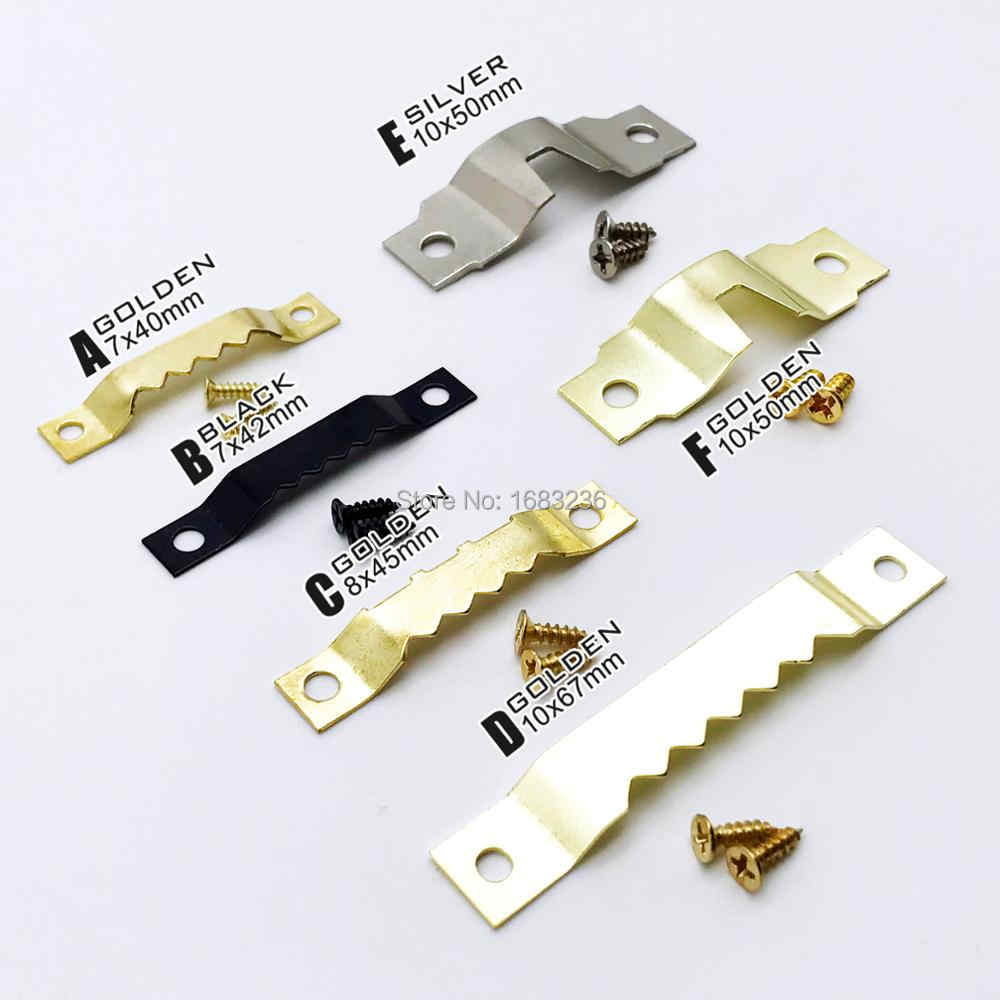 25pcs Golden Silver Black Sawtooth Picture Frame Hanger Hanging Photo Wall Oil Painting Mirror Saw Tooth Hooks with Screws