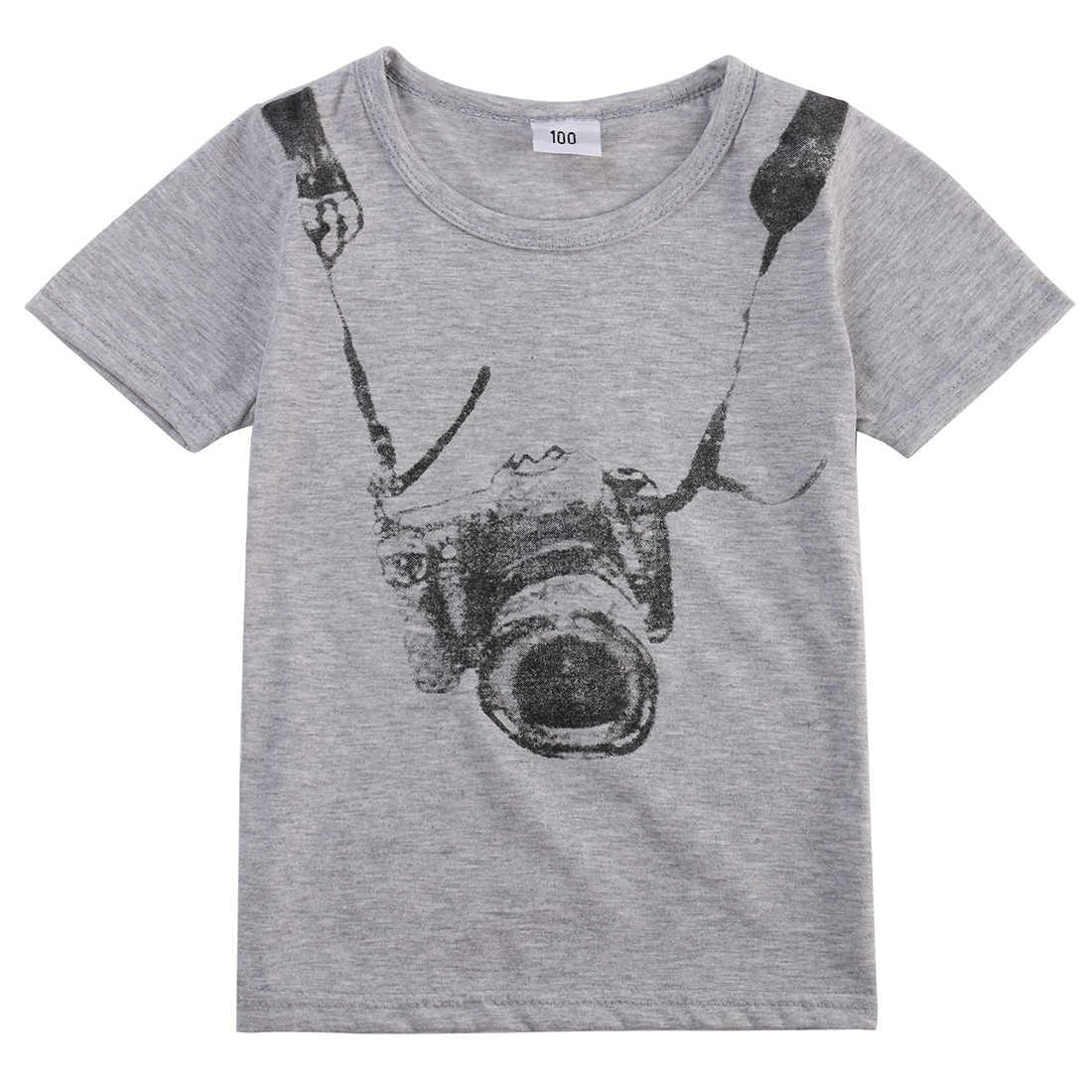 1 đổi 1 chiếc Cho Bé Bé Trai Trẻ Em Áo Thun Camera In Áo Bộ Cổ Tròn Sportwear Trang Phục Dễ Thương Thời Trang Casual Bộ Quần Áo Mùa Hè