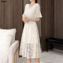 Womens Fashion Elegant Long Lace Dress Lady Sexy Hollow Out Blue Flare Sleeve Bodycon Party Female Dress FemmeVestidos цена