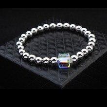 8e859649f498 Malanda marca No alérgico Noble Cadena de bolas de Metal pulsera de cristal  de Swarovski Pulseras