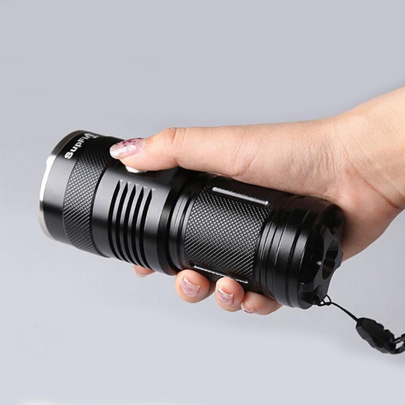 SUPFIRE D'origine M6 Puissant lampe de poche led 3 Xm-L T6 2000 Lumens 30 W 5 modes lampe de poche tactique avec 4 pcs18650 batterie li-ion