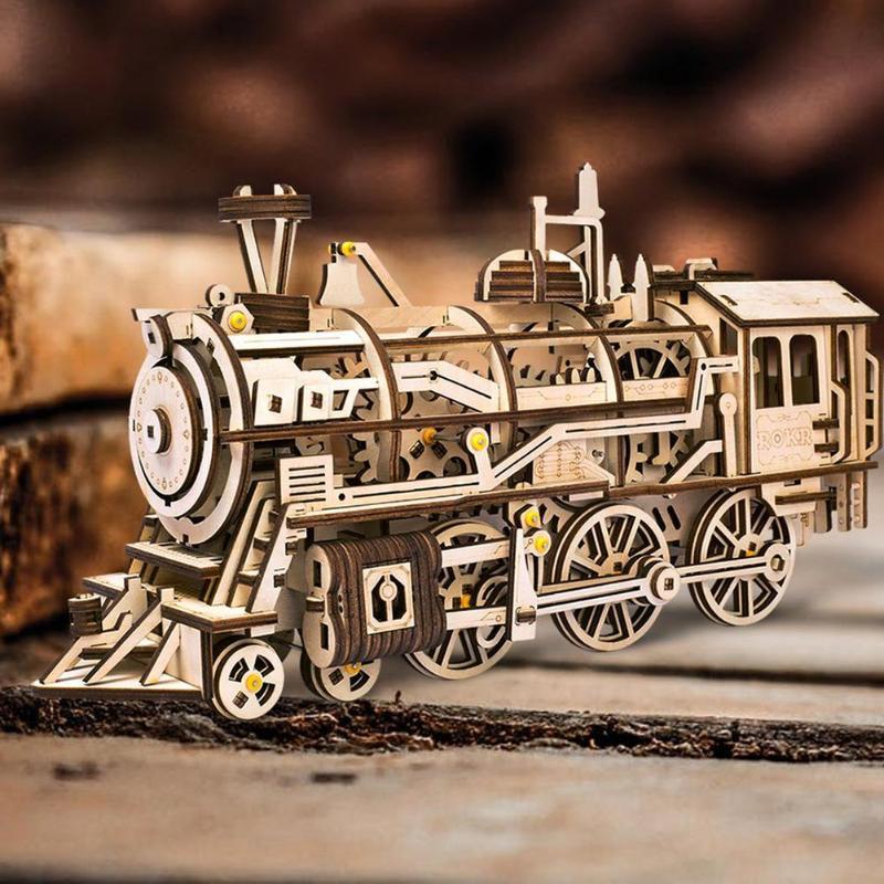 Bricolage mécanique engrenage entraînement Locomotive 3D en bois modèle Kits de construction jouets loisirs cadeau pour enfants adulte LK701
