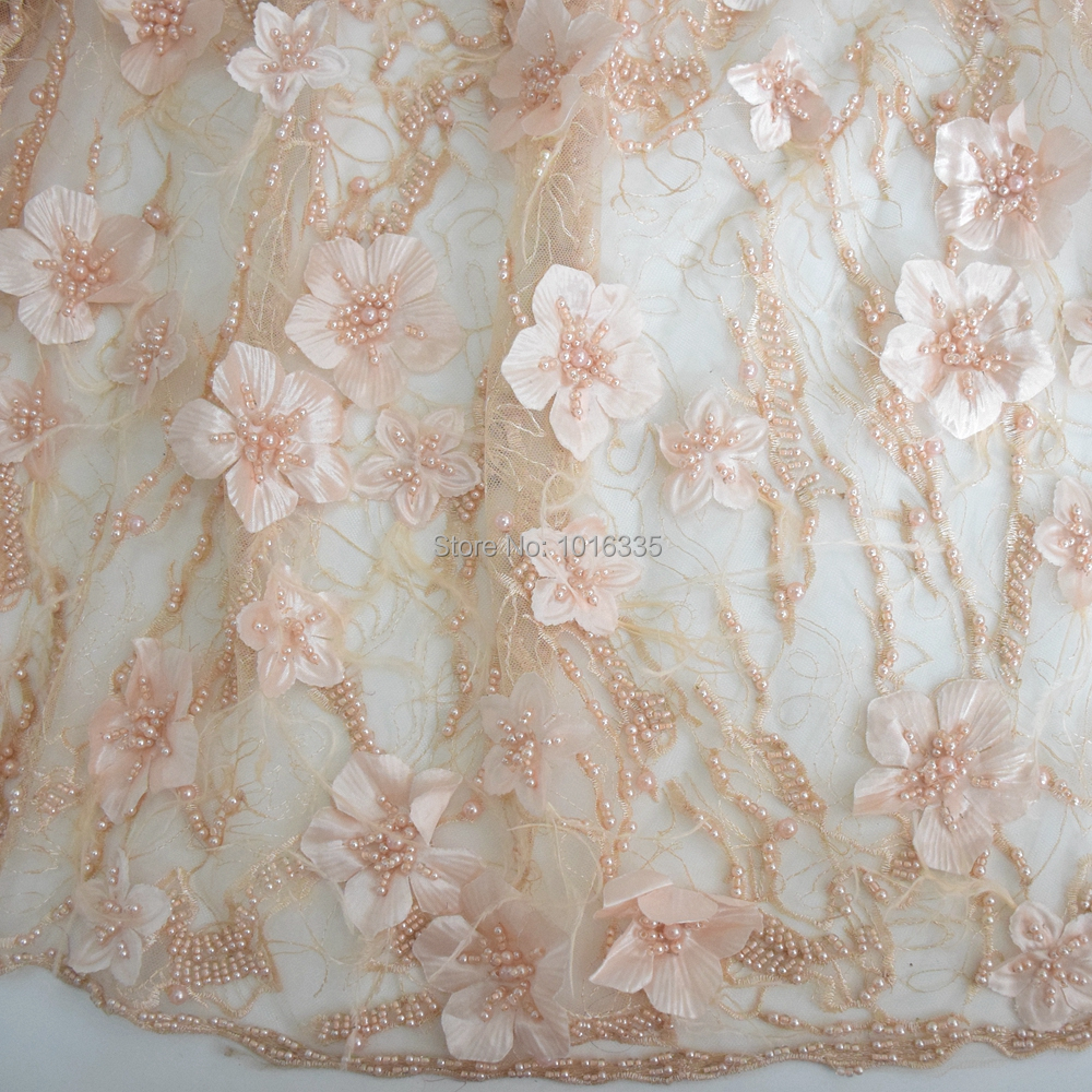 2019 Handmade Lace Beaded Fabric, Feather Wedding 3D Lace Fabric For Nigeria Women, African Fabrics High Quality HY0735