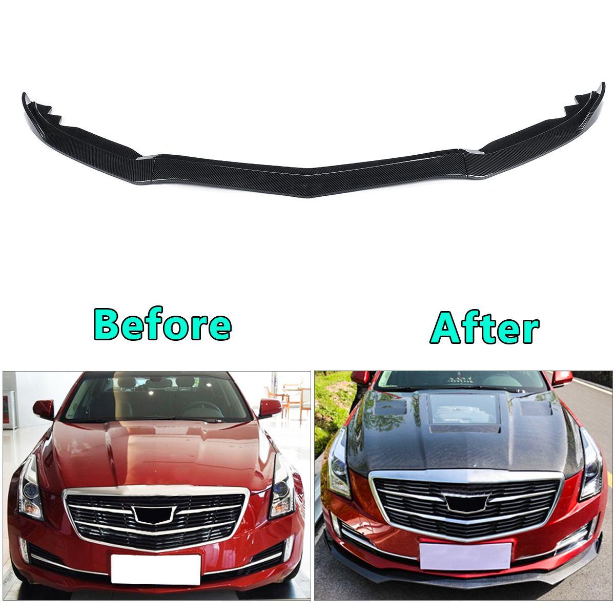 2015-2018 For Cadillac ATS black Carbon fiber Front Bumper Lip Cover Trim 3 PCS