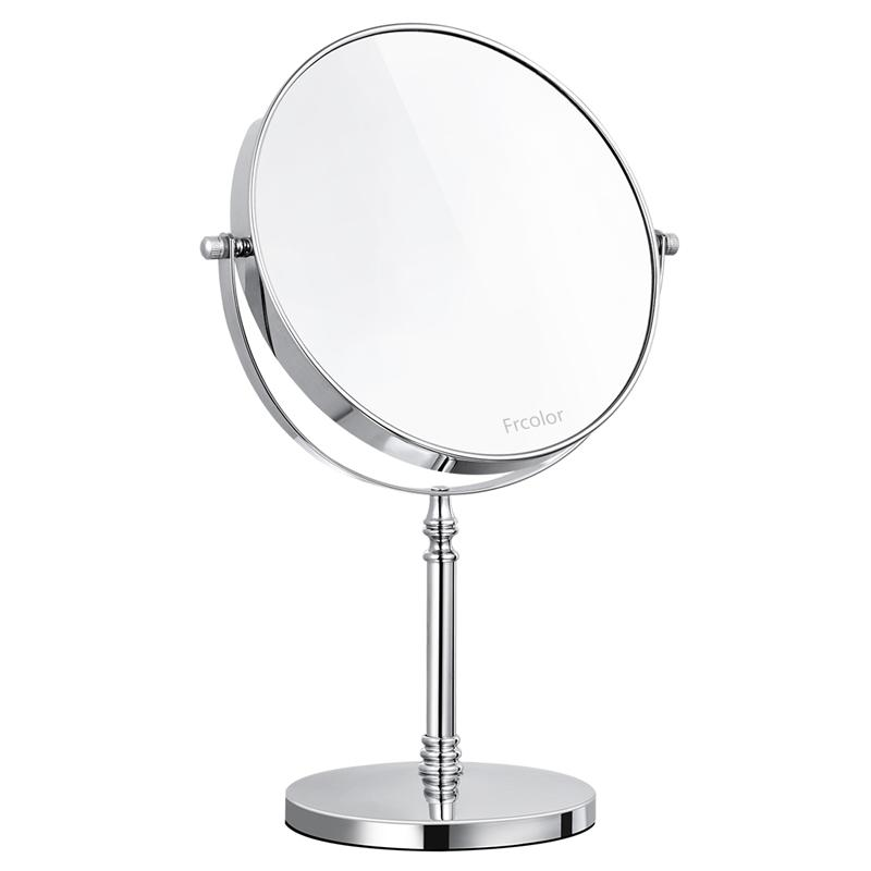 Frcolor 8 Inch Double sided 10X Magnifying Mirror Clear 360 Rotation Easy Cleaning Tabletop for Makeup