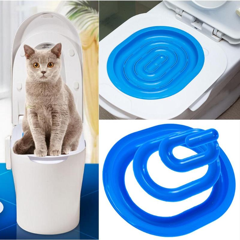 Plastic Cat Toilet Training Kit Litter Box Puppy Cat Litter Mat Cat Toilet Trainer Toilet Pet Cleaning Cat Training Supplies
