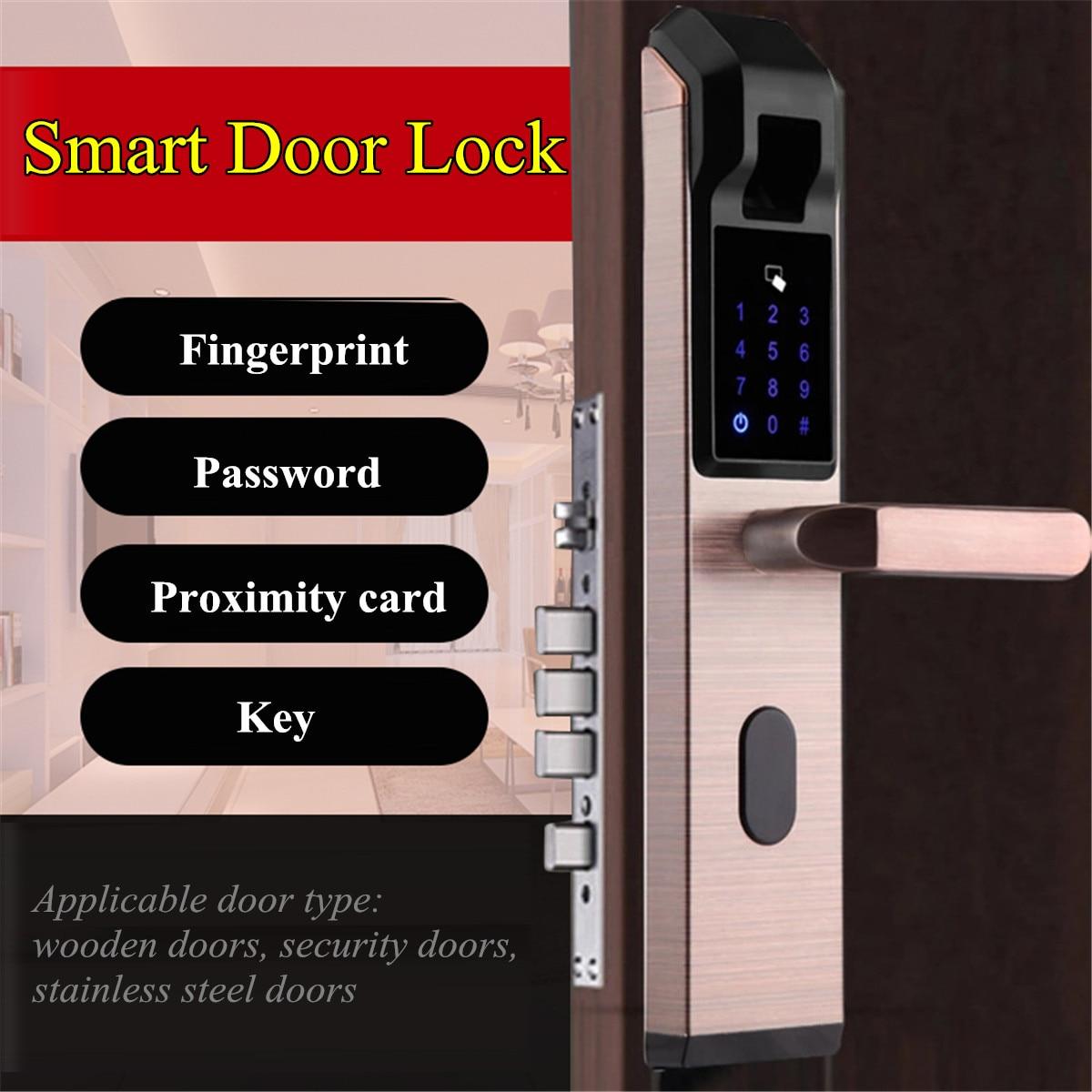 Security Smart Electronic Door Lock Fingerprint Password Access Anti theft Lock Access Control System Set House Apartment 4 Ways