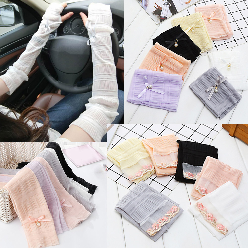 2019 New Summer Lace Bow Pearl Long Fingerless Gloves Breathable Sunscreen Women Chic Pink Grey Hot Sale Driving Arm Sleeve