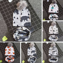 Newborn Kids Baby Boy Girl Pom Hat Winter Warm Knit Pom Beanie Cap Scarf Set Winter Autumn Cactus Shark Eagle Polar bear Fox(China)