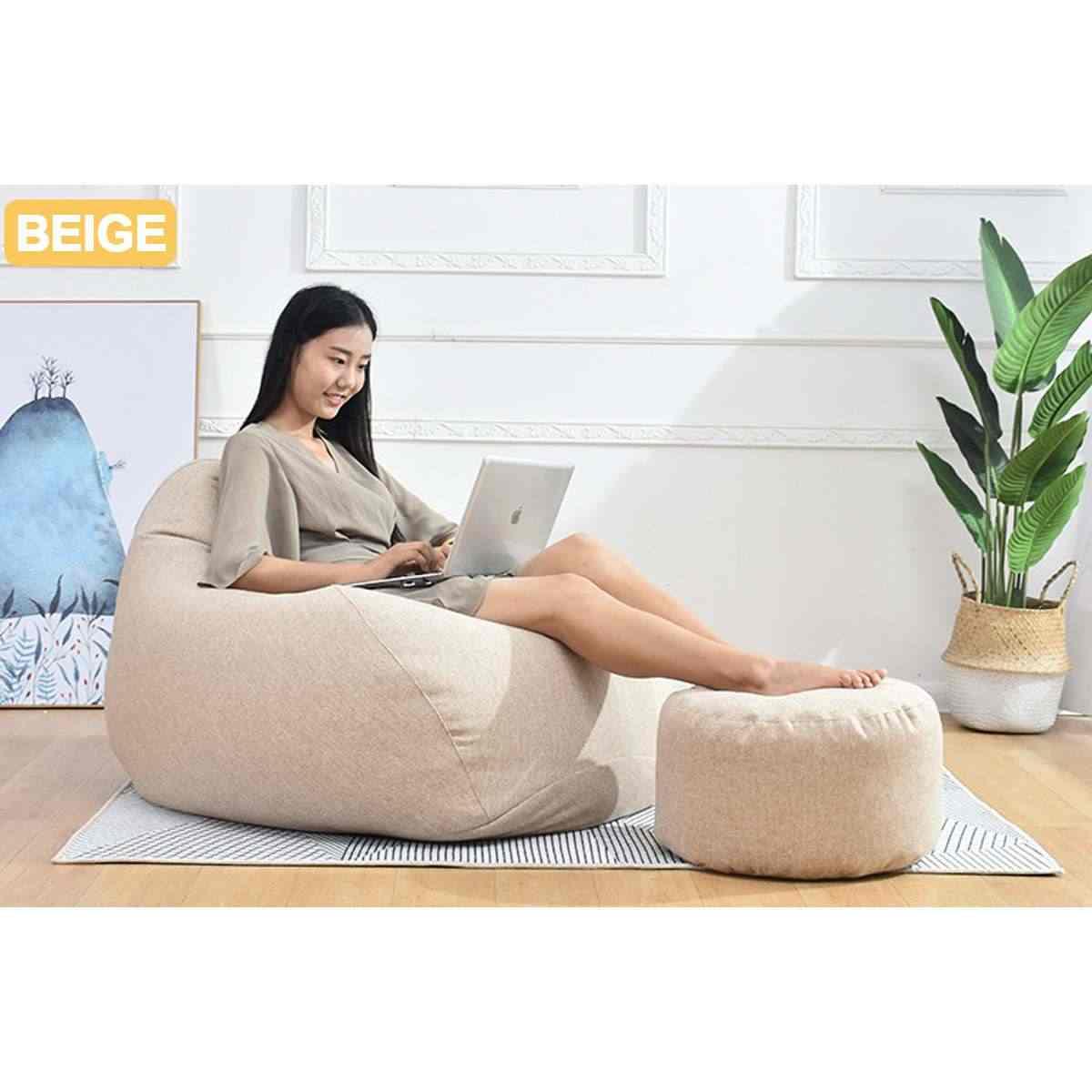 Pequeno Rodada BeanBag Preguiçoso Sofás Cobrir Armazenamento De Brinquedo Bicho de pelúcia do Saco de Feijão Sem Enchimento À Prova D' Água Cor Sólida Tampa Da Cadeira