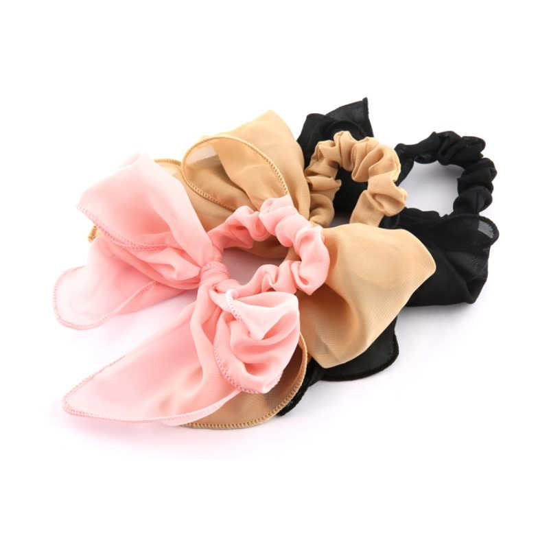 1PC Big Bowknot Pink Chiffon Adjustable Girls Hair Rope Women Black Elastic Unique Beautiful Wedding Valentines Gift
