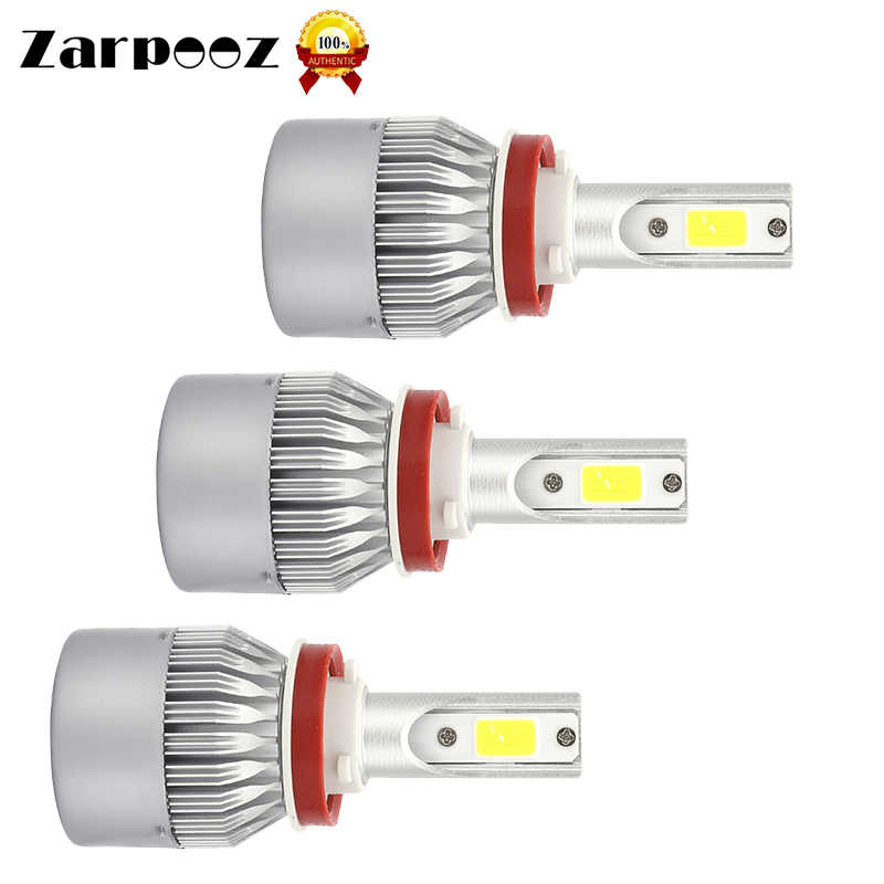Zarpooz 2pcs/lot C6S H1 H3 H7 LED H11 9005 9006 9012 12V 360 Degree Beam COB Bulb LED Car 18W Headlights