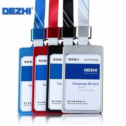 DEZHI глянцевый Бизнес ID держатель для карт с 1,5 см шейный ремень, металлический чехол для визиток с ремешком, индивидуальный логотип держател...