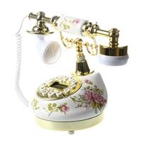 Antique Designer Phone nostalgia telescope vintage telephone ceramic MS 9100 Floral Corded Phone