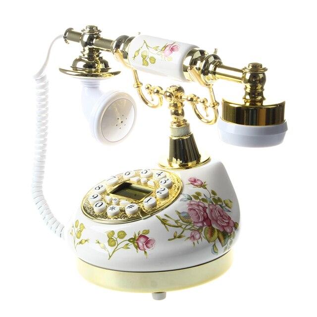 Cổ Thiết Kế Điện Thoại nỗi nhớ Kính thiên văn Vintage điện thoại gốm MS-9100 Hoa Có Dây Điện Thoại