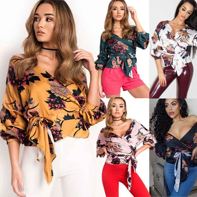 bfa80ba33b1e0 Women Floral Print Blouse Sexy Summer V Neck Bandage Shirts Wrap Over Satin  Crop Tops Blouse Ladies 2018 Bandage Shirts Top