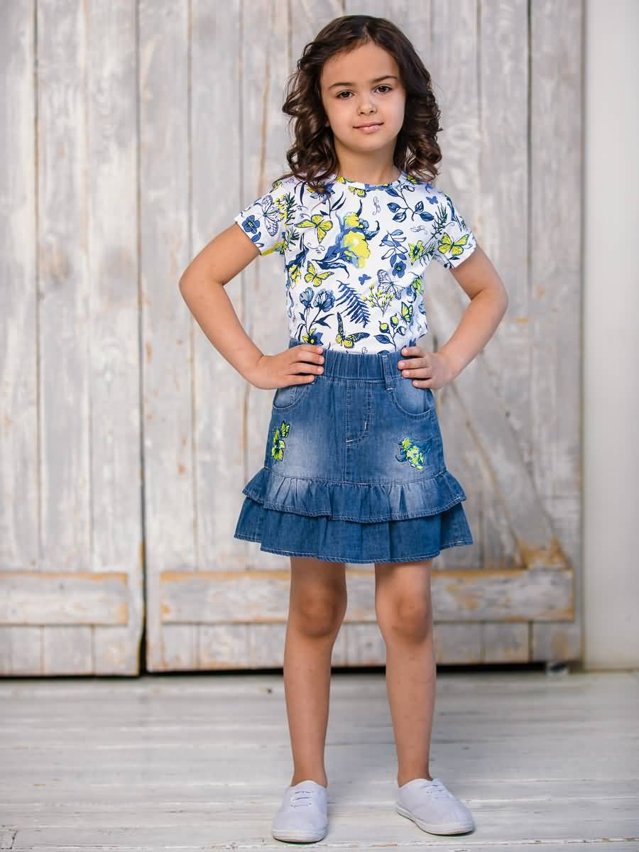 Skirt denim Sweet Berry for girls girls gingham crop top with denim overall skirt
