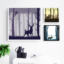 Nordic Modern Simple Animals Deer and Forest Canvas Painting Art Print Posters Wall Picture Home Decoration