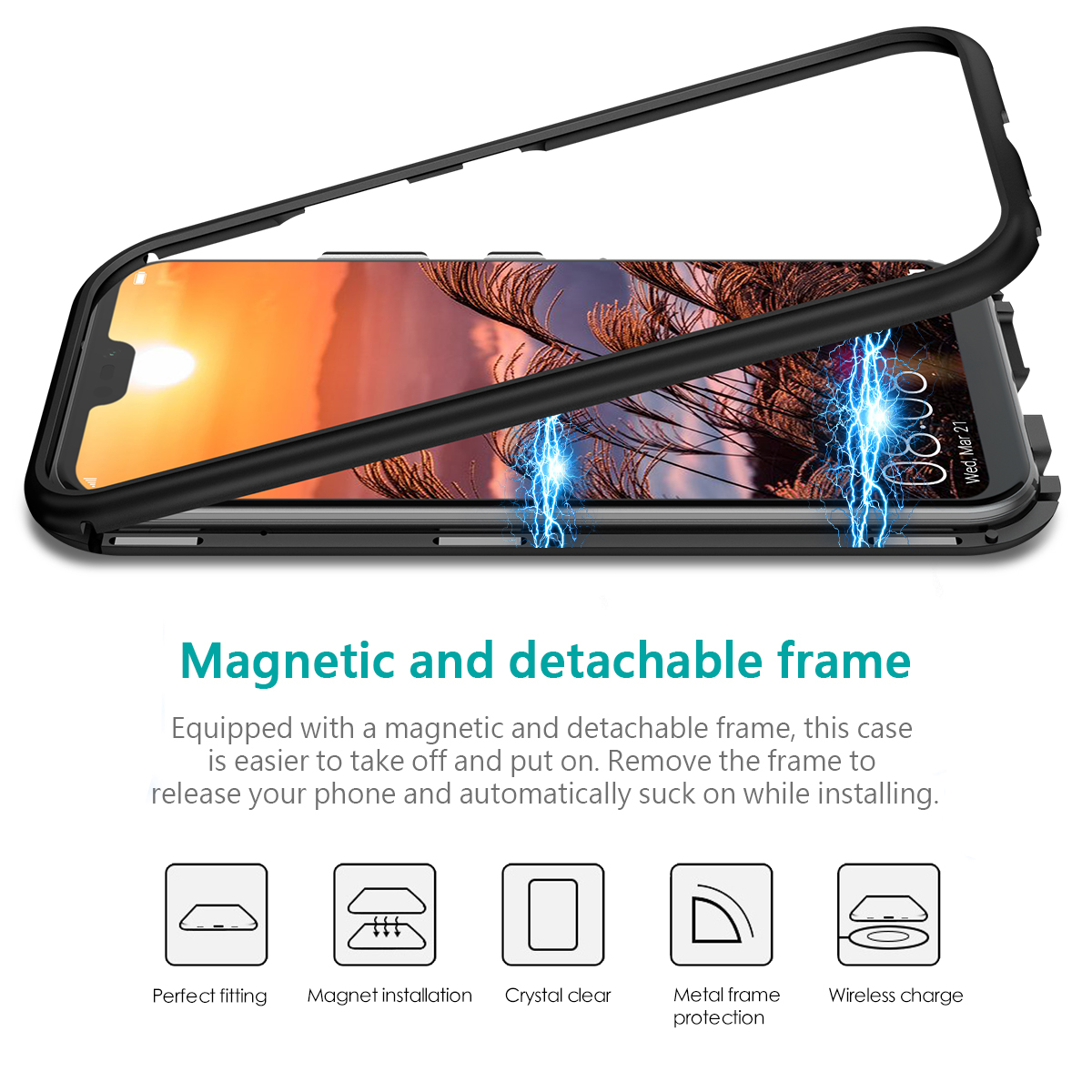 2 in 1 Case For Huawei p20 Lite Cover Hard Transparent Back Magnetic Protective Shockproof Cover For Huawei Mate10 Pro Case in Fitted Cases from Cellphones Telecommunications