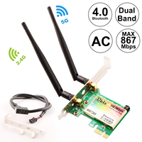Ubit 7265 WiFi Card AC 1200Mbps, 5GHz/2.4GHz Dual Band PCI Express Network Card with Bluetooth 4.0 and 2 Antenna for Desktop