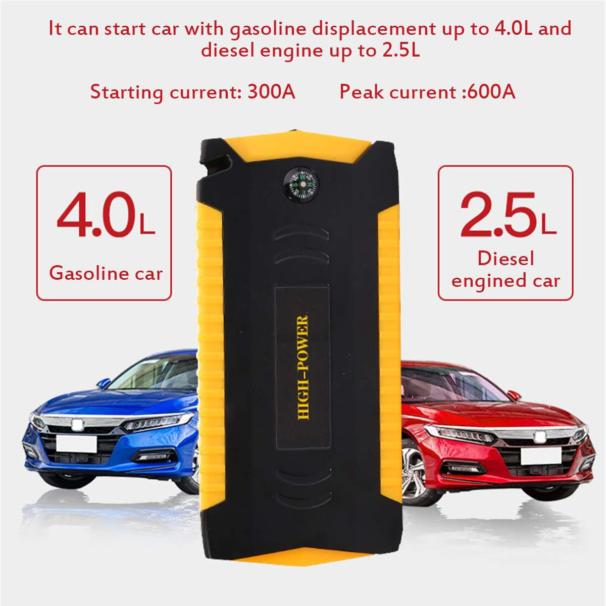 Car Jump Starter Booster 4USB Emergency Charger Battery 89800mAh 12V 600A Multifunction Power Bank for Diesels Car Vehicle image