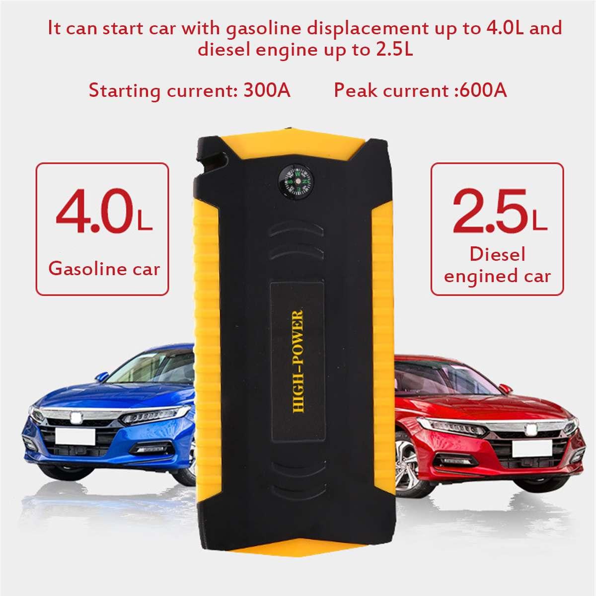 Voiture saut démarreur Booster 4USB chargeur de secours batterie 89800 mAh 12 V 600A multifonction batterie externe pour Diesels voiture véhicule