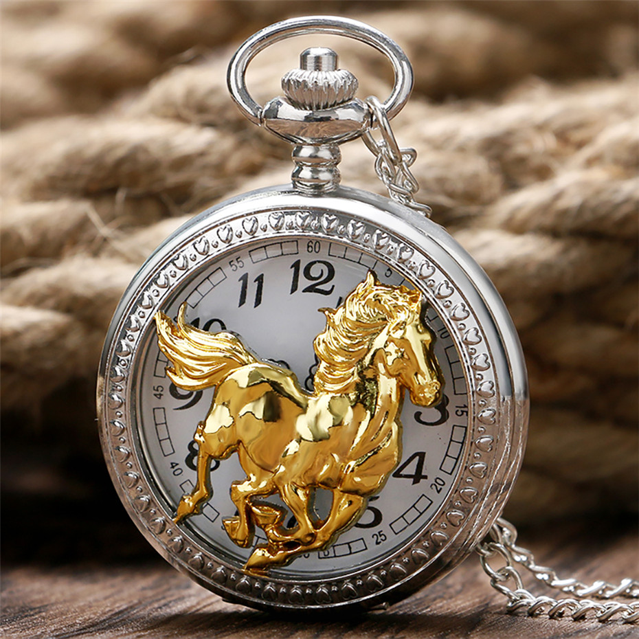Exquisite Running Golden Horse Quartz Pocket Watch Silver Necklace Chain Hollow Half Hunter Pendant Necklace Clock Men Women
